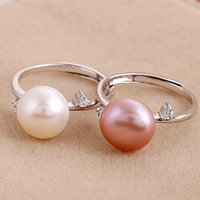 Cultured Freshwater Pearl Finger Ring, with 925 Sterling Silver, Flat Round, natural, adjustable & with cubic zirconia, mixed colors, 10-11mm, Size:7, 5PCs/Bag, Sold By Bag