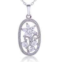 Gets® Jewelry Pendant, Brass, Flat Oval, platinum plated, with cubic zirconia & faceted, nickel, lead & cadmium free, 13x31mm, Hole:Approx 3-5mm, Sold By PC