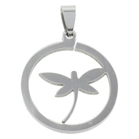 Stainless Steel Pendants, Flat Round, original color, 29x33x1.5mm, Hole:Approx 4x7mm, Sold By PC