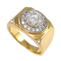 Cubic Zirconia Micro Pave Brass Finger Ring, plated, micro pave cubic zirconia, nickel, lead & cadmium free, 12.5mm, US Ring Size:9, Sold By PC