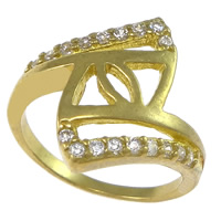 Cubic Zirconia Micro Pave Brass Finger Ring, plated, micro pave cubic zirconia & hollow, more colors for choice, nickel, lead & cadmium free, 18mm, US Ring Size:6.5, Sold By PC