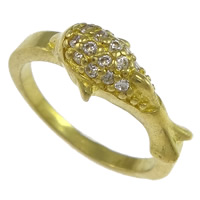 Cubic Zirconia Micro Pave Brass Finger Ring, Dolphin, plated, micro pave cubic zirconia, more colors for choice, nickel, lead & cadmium free, 7mm, US Ring Size:7, Sold By PC
