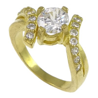 Cubic Zirconia Micro Pave Brass Finger Ring, plated, micro pave cubic zirconia, more colors for choice, nickel, lead & cadmium free, 13mm, US Ring Size:7, Sold By PC