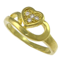 Cubic Zirconia Micro Pave Brass Finger Ring, Heart, plated, micro pave cubic zirconia, more colors for choice, nickel, lead & cadmium free, 9mm, US Ring Size:7, Sold By PC