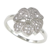 Cubic Zirconia Micro Pave Brass Finger Ring, Flower, plated, micro pave cubic zirconia, more colors for choice, nickel, lead & cadmium free, 12x12mm, US Ring Size:7, Sold By PC