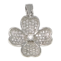 Cubic Zirconia Micro Pave Sterling Silver Pendant, 925 Sterling Silver, Flower, plated, micro pave cubic zirconia, more colors for choice, 16x19x4mm, Hole:Approx 3x4mm, Sold By PC