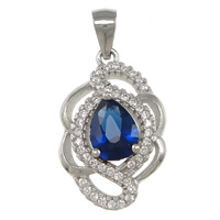 Cubic Zirconia Micro Pave Sterling Silver Pendant, 925 Sterling Silver, Flower, plated, micro pave cubic zirconia & faceted, more colors for choice, 13x21x5mm, Hole:Approx 3x4mm, Sold By PC