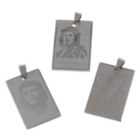 Stainless Steel Pendants, Rectangle, different designs for choice, original color, 25x38x1.5mm, Hole:Approx 5x9mm, Sold By PC
