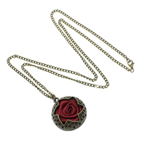 Zinc Alloy Sweater Necklace Setting, with iron chain & Grosgrain Ribbon, Flower, antique bronze color plated, twist oval chain, nickel, lead & cadmium free, 4.5x3x0.8mm, 34x39x22mm, Inner Diameter:Approx 1.5, 2x3, 2.3x3.5mm, Length:Approx 32 Inch, Sold By Strand