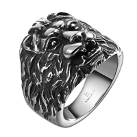 comeon® Finger Ring, Stainless Steel, Lion, different size for choice & blacken, 23x19mm, Sold By PC