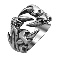 comeon® Finger Ring, Stainless Steel, Claw, different size for choice & blacken, 26x17mm, Sold By PC