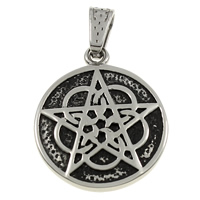 Stainless Steel Pendants, Flat Round, blacken, 30x36x3mm, Hole:Approx 5x8mm, Sold By PC