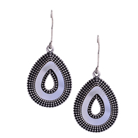Resin Zinc Alloy Earring, with Resin, stainless steel earring hook, Teardrop, antique silver color plated, 22x46.4mm, Sold By Pair
