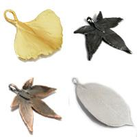 Plating Natural Leaves Pendants