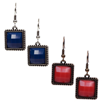 Resin Zinc Alloy Earring, with Resin, Square, plated, faceted, more colors for choice, 15.8x36.5mm, Sold By Pair