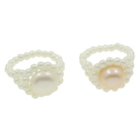 Cultured Freshwater Pearl Finger Ring, Flower, natural, more colors for choice, 2-3mm, 9-10mm, 22x29x15mm, US Ring Size:7.5, 100PCs/Box, Sold By Box