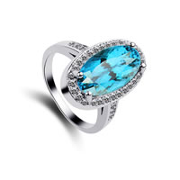 Cubic Zirconia Micro Pave Brass Finger Ring, with Glass, Flat Oval, platinum plated, micro pave cubic zirconia & faceted, sea blue, nickel, lead & cadmium free, 18x11mm, US Ring Size:8, Sold By PC