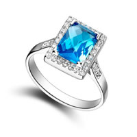 Cubic Zirconia Micro Pave Brass Finger Ring, with Glass, Rectangle, platinum plated, micro pave cubic zirconia & faceted, sea blue, nickel, lead & cadmium free, 12x10mm, US Ring Size:8, Sold By PC