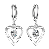 comeon® Jewelry Earring, Brass, Heart, real silver plated, with cubic zirconia, 13x29mm, Sold By Pair