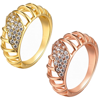 comeon® Finger Ring, Brass, plated, different size for choice & micro pave cubic zirconia, more colors for choice, 9mm, Sold By PC