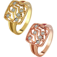 comeon® Finger Ring, Brass, Square, plated, different size for choice & with rhinestone, more colors for choice, 13mm, Sold By PC