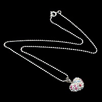Rhinestone Brass Necklace, with Resin Pearl & Clay Pave, Heart, platinum color plated, with 38 pcs rhinestone & ball chain, nickel, lead & cadmium free, 14x15x8mm, 1.5mm, Length:Approx 16 Inch, Sold By Strand