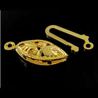 Brass Fishhook Clasp, Horse Eye, plated, hollow, more colors for choice, lead & cadmium free, Hole:Approx 1.5mm, Sold By PC