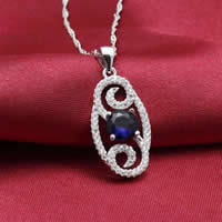 Cubic Zirconia Micro Pave Sterling Silver Pendant, 925 Sterling Silver, Flat Oval, platinum plated, micro pave cubic zirconia & hollow, 13x26mm, Hole:Approx 3x5mm, Sold By PC