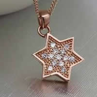 Cubic Zirconia Micro Pave Sterling Silver Pendant, 925 Sterling Silver, Star of David, real rose gold plated, micro pave cubic zirconia, 10x14mm, Hole:Approx 3x5mm, Sold By PC