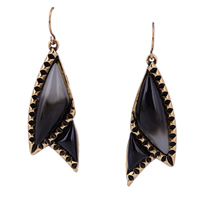 Resin Zinc Alloy Earring, with Resin, stainless steel earring hook, antique gold color plated, 17x45.4mm, Sold By Pair