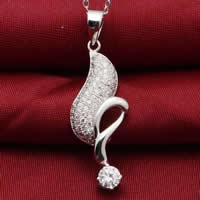 Cubic Zirconia Micro Pave Sterling Silver Pendant, 925 Sterling Silver, platinum plated, micro pave cubic zirconia, 11x29mm, Hole:Approx 3x5mm, Sold By PC