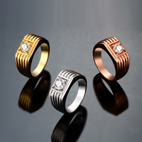 comeon® Finger Ring, Brass, plated, different size for choice & for man & with cubic zirconia, more colors for choice, 9mm, Sold By PC