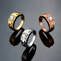 comeon® Finger Ring, Brass, plated, different size for choice & micro pave cubic zirconia & for man, more colors for choice, 9mm, Sold By PC