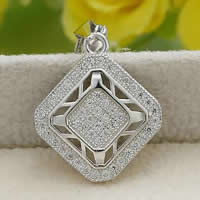 Cubic Zirconia Micro Pave Sterling Silver Pendant, 925 Sterling Silver, Rhombus, platinum plated, micro pave cubic zirconia & hollow, 17.50x20.20mm, Hole:Approx 3x5mm, Sold By PC