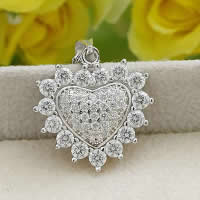 Cubic Zirconia Micro Pave Sterling Silver Pendant, 925 Sterling Silver, Heart, platinum plated, micro pave cubic zirconia, 20.30x21.20mm, Hole:Approx 3x5mm, Sold By PC