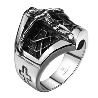comeon® Finger Ring, Stainless Steel, Crucifix Cross, different size for choice & blacken, 24x23mm, Sold By PC