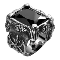 comeon® Finger Ring, Stainless Steel, different size for choice & with cubic zirconia & faceted & blacken, 25x25mm, Sold By PC