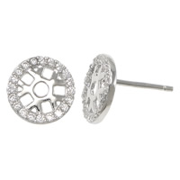 Cubic Zirconia Micro Pave Sterling Silver Earring, 925 Sterling Silver, with rubber earnut, Flat Round, micro pave cubic zirconia & hollow, 9x9x12mm, Sold By Pair
