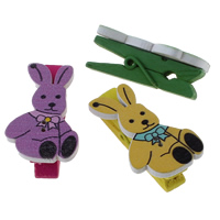Fashion Office Clip, Wood, with Iron, Rabbit, printing, mixed colors, 21x33x13mm, 1000PCs/Bag, Sold By Bag