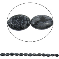 Snowflake Obsidian Bead, Flat Oval, natural, 13x18x5mm, Hole:Approx 1.5mm, Length:Approx 15.7 Inch, Approx 23PCs/Strand, Sold By Strand