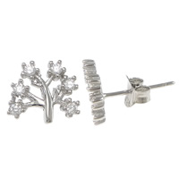 Cubic Zirconia Micro Pave Sterling Silver Earring, 925 Sterling Silver, Tree, platinum plated, micro pave cubic zirconia, 9x8x14mm, Sold By Pair