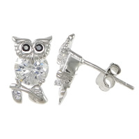 Cubic Zirconia Micro Pave Sterling Silver Earring, 925 Sterling Silver, Owl, platinum plated, micro pave cubic zirconia, 6.5x12x15mm, Sold By Pair