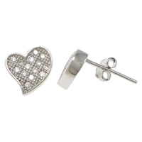 Cubic Zirconia Micro Pave Sterling Silver Earring, 925 Sterling Silver, Heart, platinum plated, micro pave cubic zirconia, 8x7x13mm, Sold By Pair