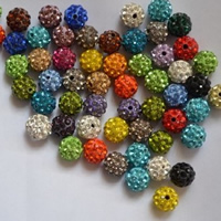 Rhinestone Clay Pave Beads, Round, with 35 pcs rhinestone, more colors for choice, 10mm, Hole:Approx 2mm, 100PCs/Bag, Sold By Bag