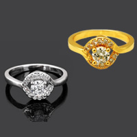 Cubic Zirconia Micro Pave Brass Finger Ring, plated, different size for choice & micro pave cubic zirconia, more colors for choice, 11mm, Sold By PC