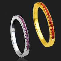 Cubic Zirconia Micro Pave Brass Finger Ring, plated, different size for choice & micro pave cubic zirconia, more colors for choice, 3mm, Sold By PC