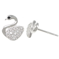 Cubic Zirconia Micro Pave Sterling Silver Earring, 925 Sterling Silver, Swan, without earnut & micro pave cubic zirconia, 8x10x12mm, 0.8mm, Sold By Pair