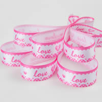 Polyester Ribbon, word love, printing, with heart pattern & different size for choice & single-sided, Sold By Yard