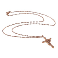 Stainless Steel Jewelry Necklace, Libra, rose gold color plated, oval chain & with rhinestone, 16x26x2mm, Length:Approx 17 Inch, Sold By Strand