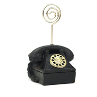 Place Card Clip, Resin, with Zinc Alloy, Telephone, brushwork, black, 40mm,35mm,40mm,30mm, Sold By PC